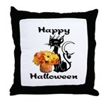 Halloween Black Cat Throw Pillow