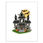 Halloween Haunted House Ghosts Small Poster