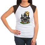 Halloween Haunted House Ghosts Women's Cap Sleeve
