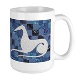 White on Blue Coffee Mug