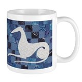 White on Blue Small Mug