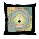 Green Birdhouse Throw Pillow