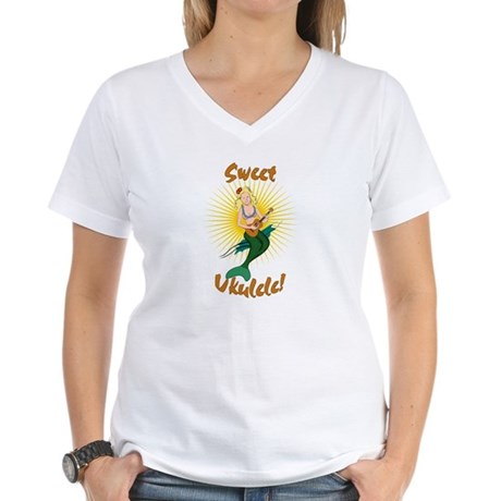 Ukulele Mermaid Women's V-Neck T-Shirt