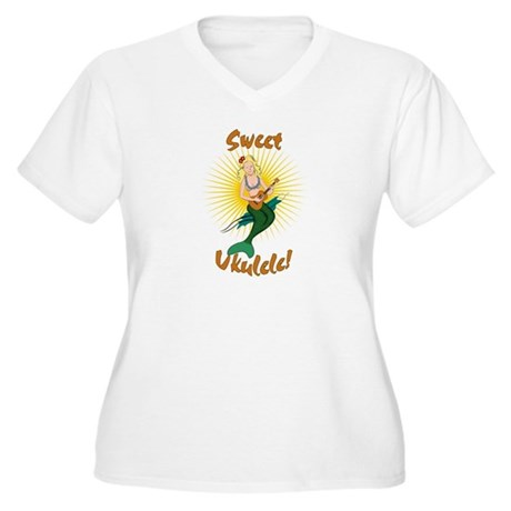 Ukulele Mermaid Women's Plus Size V-Neck T-Shirt