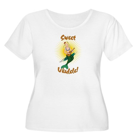 Ukulele Mermaid Women's Plus Size Scoop Neck T-Shi