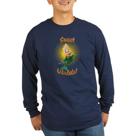 Ukulele Mermaid Long Sleeve Dark T-Shirt