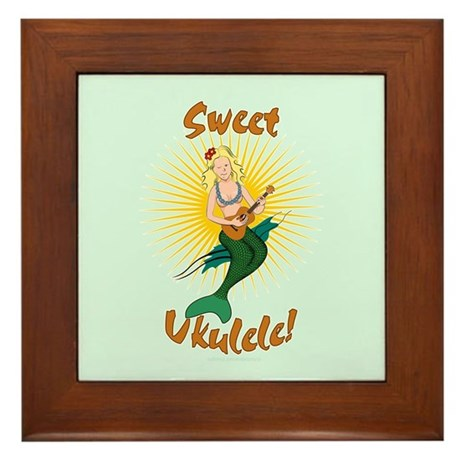 Ukulele Mermaid Framed Tile
