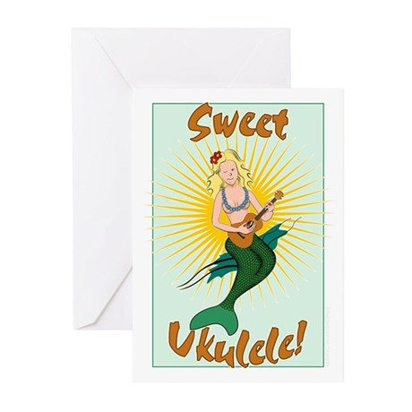 Ukulele Mermaid Greeting Cards (Pk of 10)