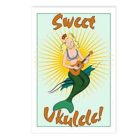 Ukulele Mermaid Postcards (Package of 8)