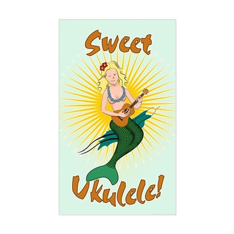 Ukulele Mermaid Sticker (Rectangle)