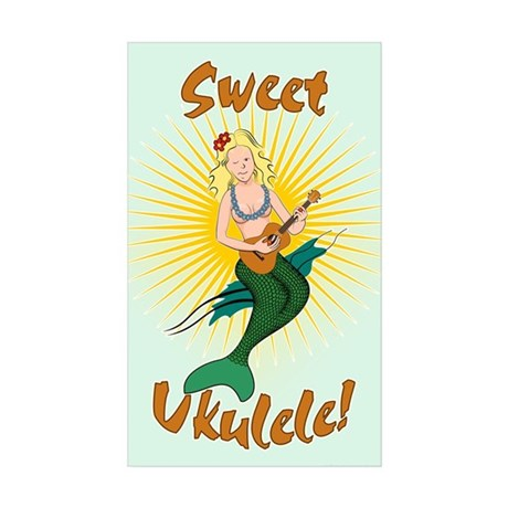 Ukulele Mermaid Sticker (Rectangle 50 pk)