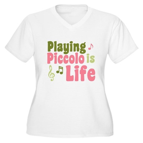 Playing Piccolo is Life Women's Plus Size V-Neck T