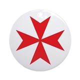 Red Maltese Cross Ornament (Round)