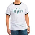 The View Teal Logo Ringer T