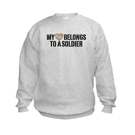My Heart Belongs To A Soldier Kids Sweatshirt