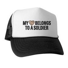 My Heart Belongs To A Soldier Trucker Hat
