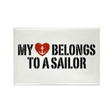 My Heart Belongs To A Sailor Rectangle Magnet