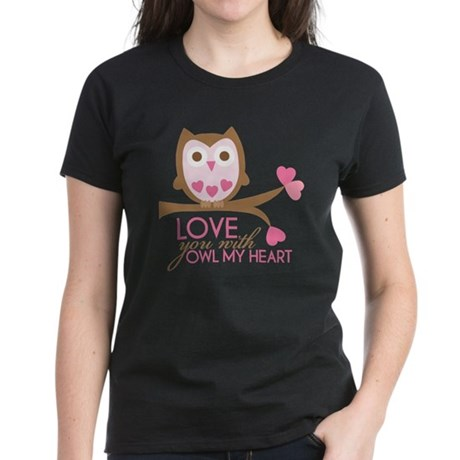 Love you with owl my heart Women's Dark T-Shirt