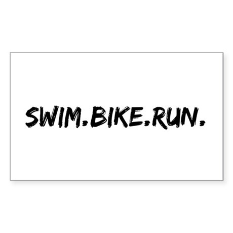 Swim. Bike. Run. Sticker (Rectangle)