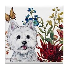 Westie Terrier in the Garden Tile Coaster