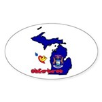 ILY Michigan Sticker (Oval 10 pk)