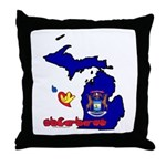 ILY Michigan Throw Pillow