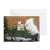 Trio of Bunnies Holiday Greeting Card