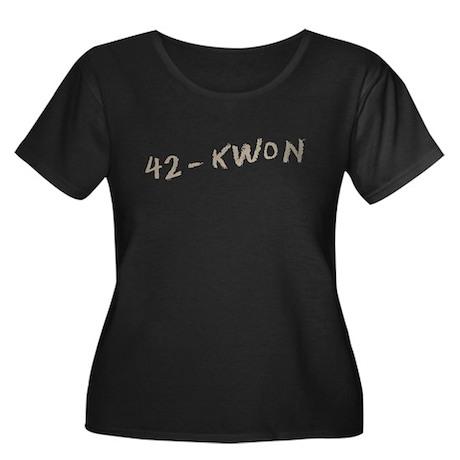 42-Kwon Women's Plus Size Scoop Neck Dark T-Shirt