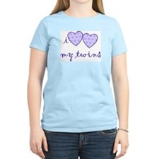 """i heart heart my twins"" Women's Pink T-Shirt"
