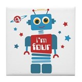 Robot 4th Birthday Tile Coaster