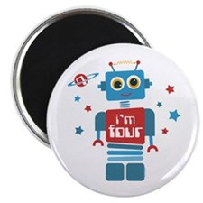 Robot 4th Birthday Magnet