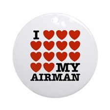 I Love My Airman Ornament (Round)
