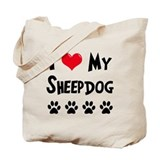 I Love My Sheepdog Tote Bag