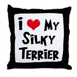 I Love My Silky Terrier Throw Pillow