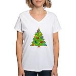 French Horn Christmas Women's V-Neck T-Shirt