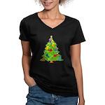 French Horn Christmas Women's V-Neck Dark T-Shirt