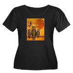 3 Owls Women's Plus Size Scoop Neck Dark T-Shirt
