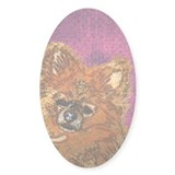 Long Haired Chihuahua Oval Decal