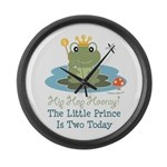 Frog Prince 2nd Birthday Large Wall Clock