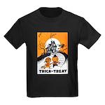 Vintage Trick or Treat Image Kids Dark T-Shirt