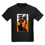 Vintage Trick or Treat Image Kids Dark T-Shirt