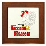 Raccoon Assassin Rooster Framed Tile