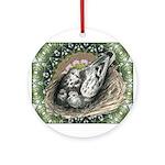 Nesting Pigeons Decorative Ornament (Round)