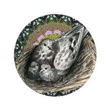 "Nesting Pigeons Decorative 3.5"" Button (100 p"