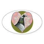 Racing Pigeon Heart Sticker (Oval 50 pk)