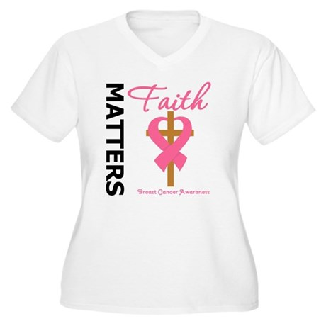 Faith Matters Breast Cancer Women's Plus Size V-Ne