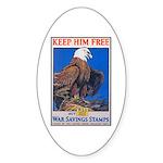 Keep Him Free Eagle Oval Sticker