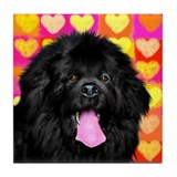 Newfoundland Dog Love Tile Coaster