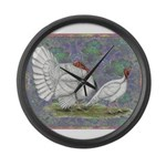 White Holland Turkeys Large Wall Clock
