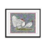 White Holland Turkeys Framed Panel Print